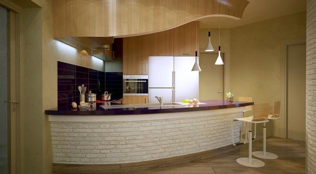 Kuchnia z barkiem  oryginalny projekt kuchni z salonem -> Projekt Domu Kuchnia Z Jadalnia
