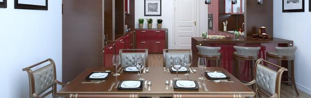 Elegancka, czerwona kuchnia - aranżacja kuchni z jadalnią
