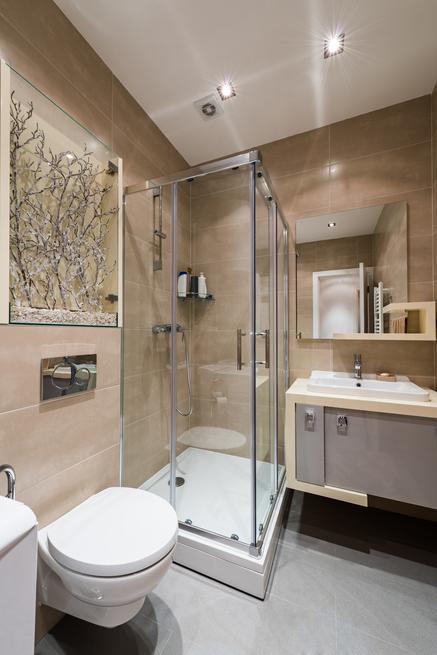 Beżowa łazienka – aranżacja małej łazienki