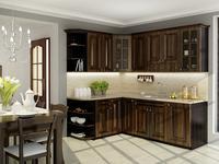 Klasyczne meble kuchenne w aranżacji kuchni. Brązowa kuchnia retro. Stolkar